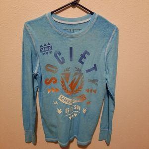 Society Buckle BKE Shirt Long Sleeve Blue small